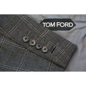 Tom Ford Fit B Gray Shadow Windowpane Plaid Wool 2